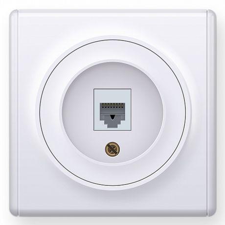 1E20601300 Розетка телефонная 1xRJ11, цвет белый в рамке