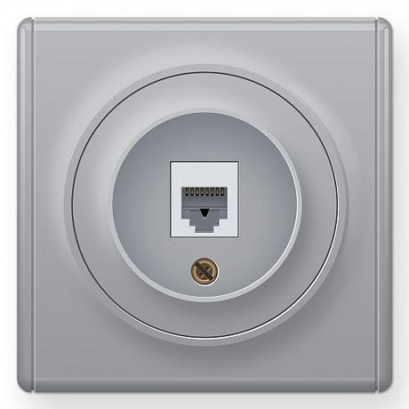 1E20601302 Розетка телефонная 1xRJ11, цвет серый в рамке