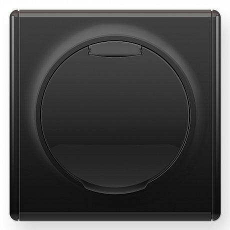 1E10501303 Розетка с крышкой, с заземлением, винтовые контакты, цвет чёрный в рамке