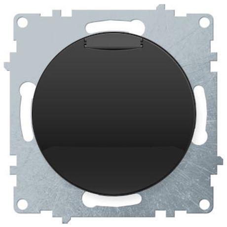 1E10501303 Розетка с крышкой, с заземлением, винтовые контакты, цвет чёрный