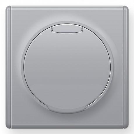 1E10501302 Розетка с крышкой, с заземлением, винтовые контакты, цвет серый в рамке
