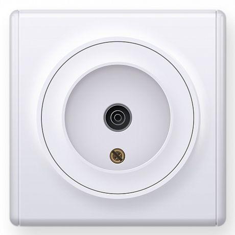 1E21101300 Розетка антенная TV, цвет белый в рамке