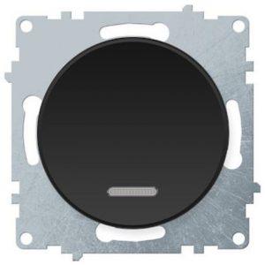 1E31701303 Выключатель одинарный с подсветкой, цвет чёрный