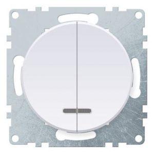 1E31801300 Выключатель двойной с подсветкой, цвет белый