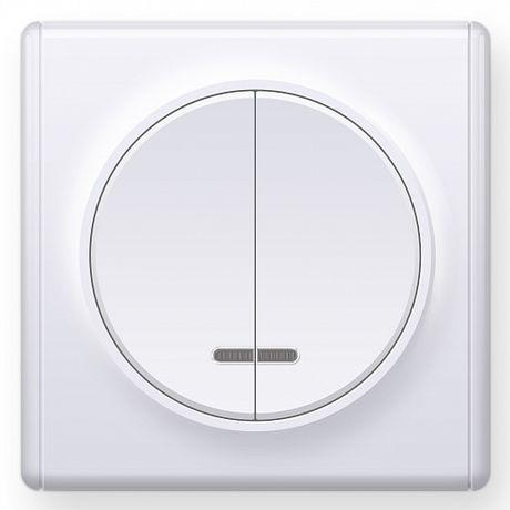 1E31801300 Выключатель двойной с подсветкой, цвет белый с рамкой