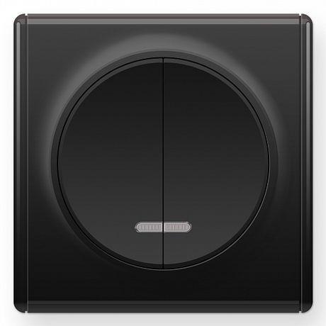 1E31801303 Выключатель двойной с подсветкой, цвет чёрный с рамкой
