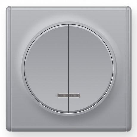 1E31801302 Выключатель двойной с подсветкой, цвет серый с рамкой