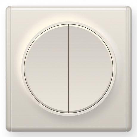 1E31501301 Выключатель двойной, цвет бежевый с рамкой