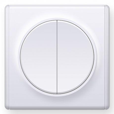 1E31501300 Выключатель двойной, цвет белый с рамкой