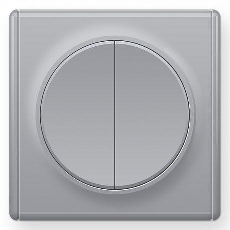 1E31501302 Выключатель двойной, цвет серый с рамкой