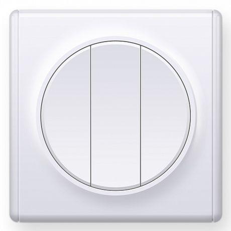 1E31901300 Выключатель тройной, цвет белый с рамкой