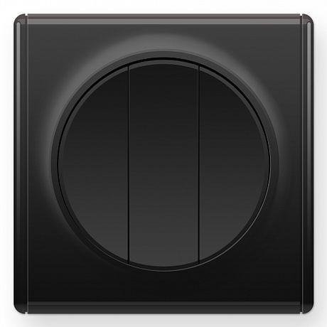 1E31901303 Выключатель тройной, цвет чёрный с рамкой