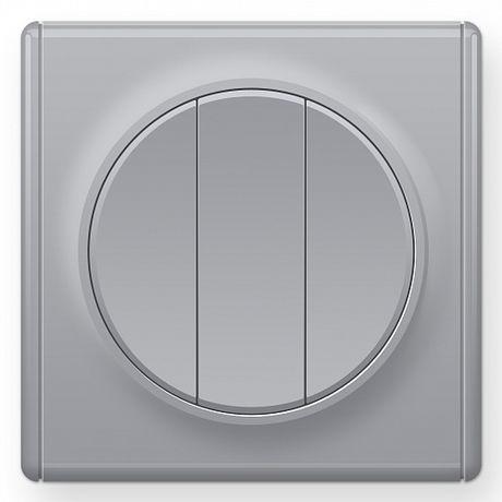 1E31901302 Выключатель тройной, цвет серый с рамкой