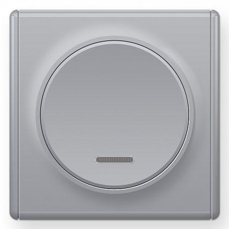 1E31701302 Выключатель одинарный с подсветкой, цвет серый с рамкой
