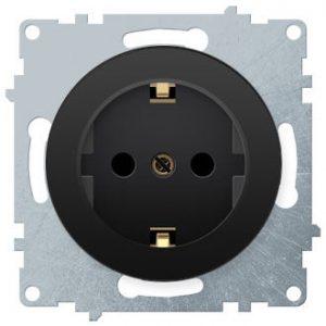 1E10201303 Розетка с заземлением, винтовые контакты, цвет чёрный