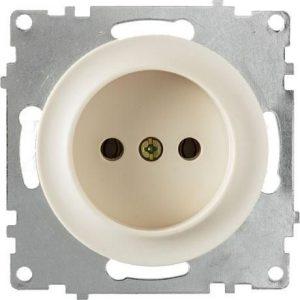 1E10301301 Розетка без заземления, винтовые контакты, цвет бежевый