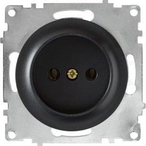 1E10401303 Розетка двойная, в сборе, с заземлением винтовые контакты, цвет чёрный