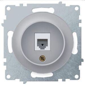 1E20601302 Розетка телефонная 1xRJ11, цвет серый