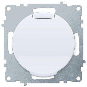 1E10501300 Розетка с крышкой, с заземлением, винтовые контакты, цвет белый