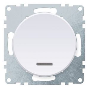 1E31701300 Выключатель одинарный с подсветкой, цвет белый