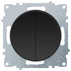 1E31501303 Выключатель двойной, цвет чёрный