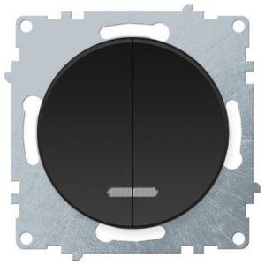 1E31801303 Выключатель двойной с подсветкой, цвет чёрный
