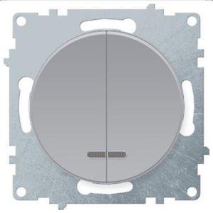 1E31801302 Выключатель двойной с подсветкой, цвет серый