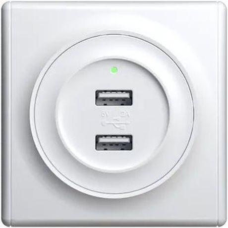 Розетка USB двойная, с подсветкой, цвет белый 1E10351300 в рамке