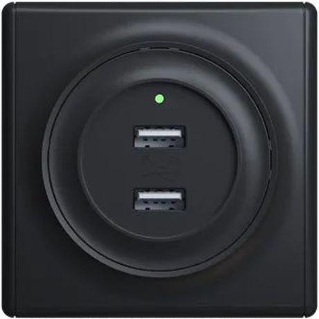 Розетка USB двойная, с подсветкой, цвет черный 1E10351303 в рамке