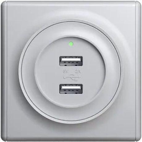Розетка USB двойная, с подсветкой, цвет серый 1E10351302 в рамке
