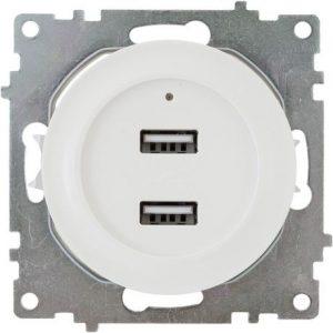 Розетка USB двойная, с подсветкой, цвет белый 1E10351300