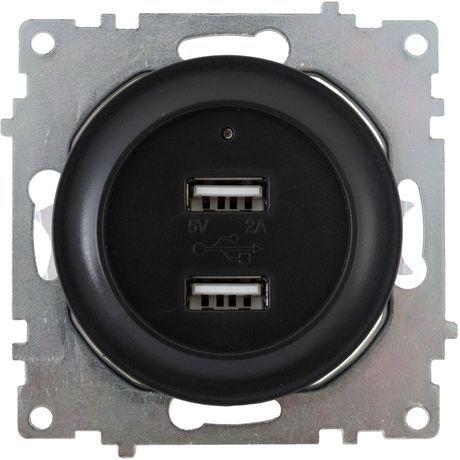 Розетка USB двойная, с подсветкой, цвет черный 1E10351303