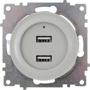 Розетка USB двойная, с подсветкой, цвет серый 1E10351302