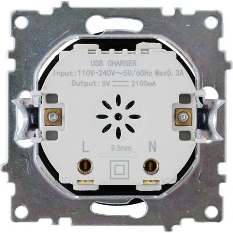 Розетка USB двойная встраиваемая Onekeyelectro вид сзади